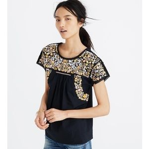 Madewell Embroidered Springtime Top Black XL